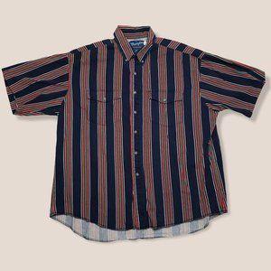 VTG Wrangler Button Down Western Shirt Stripes XL